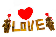 Wooden words `LOVE` made from natural material letters .Valentine background Royalty Free Stock Photo