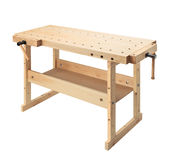 Wooden workbench with vises. Woodworking workshop table isolated on white background Stock Photography