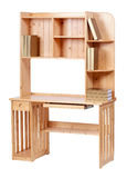 Wooden workstation over white, with clipping path Royalty Free Stock Image