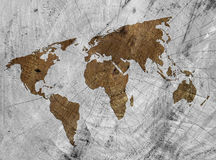 Wooden world map Royalty Free Stock Image