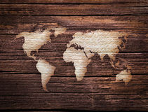Wooden world map Stock Photography