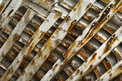Wooden Wrecked Ship Inside Ribs / Pattern / Background Stock Photos