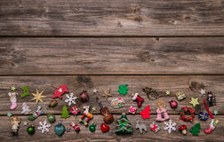 Wooden xmas or christmas background with colorful decoration. Stock Images
