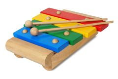 Wooden xylophone on white Royalty Free Stock Images