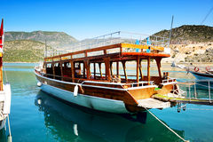 The wooden yacht in harbor on Turkish resort Royalty Free Stock Images