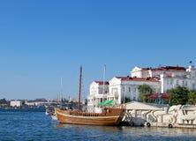 Wooden yacht for tourist in Sevastopol stock photos
