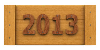 Wooden Year 2013, whole. 2013 year made of wood (whole Stock Image