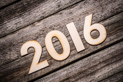 Wooden 2016 year number Royalty Free Stock Images