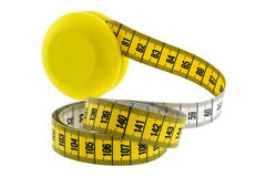 A wooden yellow YoYo with yellow measuring tape Stock Photo