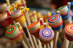 Wooden Yo-Yo. Photo of wooden yo-yo. Taken at the Freiburg market, Germany Royalty Free Stock Image