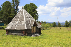 Wooden yurt in Sports complex Seminsky Royalty Free Stock Photography