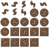 Wooden zigzag arrow buttons. Square and circle vector illustration