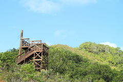 Zip-line tower. Wooden zip-line tower on a hill on Babeldaob island (Palau royalty free stock photo