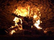 Woodenfire in de oven Royalty-vrije Stock Fotografie