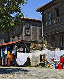 Woodens Houses and Outdoor Market, Bulgaria. Wooden houses and outdoor market in Nessebur (Nessebar, Nesebar, Nesebur), Bulgaria on the Black Sea Stock Image