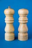 Wooder salt shaker and pepper  Stock Images