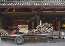 Woodfire on trailer Stock Image