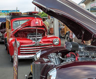 Woodies classiques au salon automobile Photos libres de droits