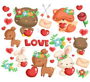 Woodland animal love stock illustration
