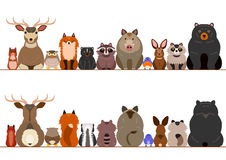 Woodland animals border set. Various woodland animals border set Stock Photo