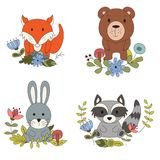 Woodland animals with cartoon hand drawn forest elements. Kid childish funny friend. Vector illustration.  vector illustration