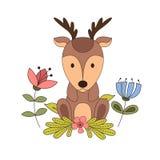 Woodland animals with cartoon hand drawn forest elements. Kid childish funny friend. Vector illustration.  stock illustration