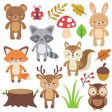 Woodland Animals. Cute woodland animals clipart elements vector set. Illustration vector in cartoon flat style Royalty Free Stock Image