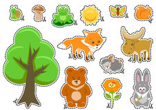 Woodland Animals and Cute Forest Design Elements Stock Image