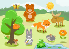 Woodland Animals and Cute Forest Design Elements Royalty Free Stock Photography
