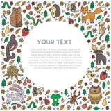 Forest animals. Cute hand drawn doodles. Frame template. Flyer, card, banner design. Vector illustration. royalty free illustration