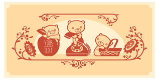 Woodland animals and decor elements set. Three teddy bears vector characters. Royalty Free Stock Image