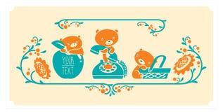 Woodland animals and decor elements set. Three teddy bears vector characters. Stock Photos