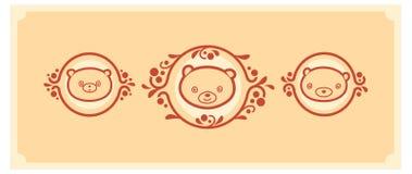 Woodland animals icon set. Three teddy bears vector characters. Stock Photo