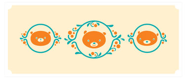 Woodland animals icon set. Three teddy bears vector characters. Royalty Free Stock Images