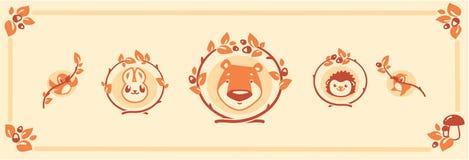 Woodland animals icon set. Vector characters bear rabbit hedgehog. Stock Images