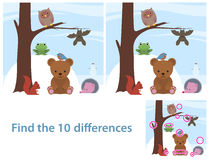 Woodland animals kids educational puzzle. To spot the 10 differences between two illustrations of a cute little cartoon bear, bat, owl, squirrel, bird and frog Royalty Free Stock Photo