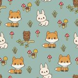 Woodland animals seamless vector pattern Stock Images