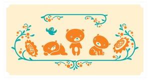 Woodland animals set. Three teddy bears vector characters. Stock Photography