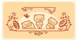 Woodland animals set. Three teddy bears vector characters. Royalty Free Stock Image