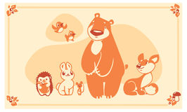 Woodland animals set. Vector characters bear fox rabbit hedgehog mouse. Royalty Free Stock Photos