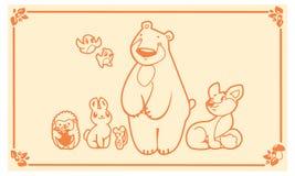 Woodland animals set. Vector characters bear fox rabbit hedgehog mouse. Stock Photo