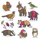 Woodland animals in sweaters cartoon vector illustration motif set. stock illustration