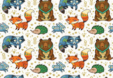 Woodland annimals seamless pattern Royalty Free Stock Images