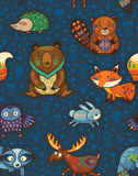 Woodland annimals seamless pattern Royalty Free Stock Photography