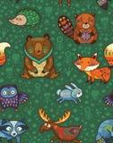 Woodland annimals seamless pattern. Woodland friends forest animals in green background. Vector pattern of cute wild animals in the forest - fox, beaver, raccoon vector illustration