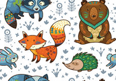 Woodland annimals seamless pattern. Woodland friends forest animals in white background. Vector pattern of cute tribal animals in the forest - fox, beaver royalty free illustration