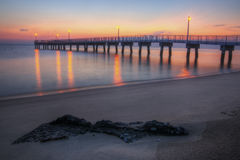 Woodland Beach Fishing Pier Dawn Stock Photos