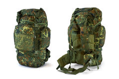 Woodland camouflage military backpack  -  Stock Image