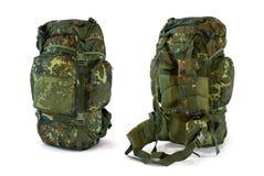 Woodland camouflage military backpack - stock image