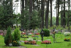 Woodland cemetery royalty free stock image